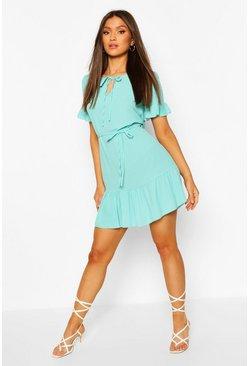 Turquoise Ruffle Hem Tie Detail Belted Mini Dress