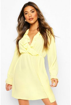 Yellow Ruffle Wrap Long Sleeve Mini Dress
