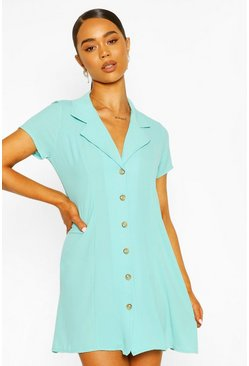 Turquoise Short Sleeve Collar Button Mini Dress