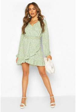 Green Ditsy Floral Long Sleeve Tea Dress