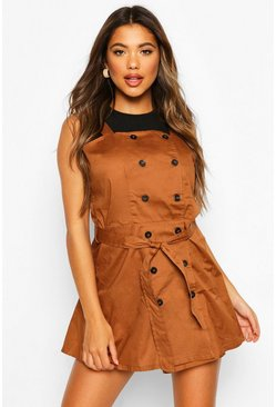 Camel Button Strappy Pinafore Dress