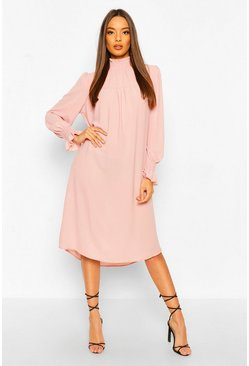 Blush Shirred Neck Midi Skater Dress