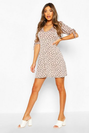 Rose Leopard Print Tie Detail Skater Dress