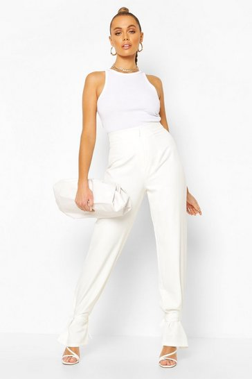 Ivory Tie Ankle Side Split Tailored Trouser