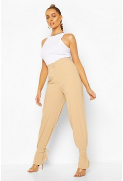Sand Tie Ankle Side Split Tailored Trouser