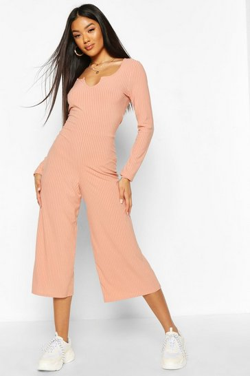Apricot Notch Front Ribbed Culotte Jumpsuit