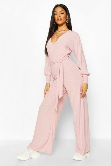 Lilac Wrap Front Ribbed Wide Leg Jumpsuit