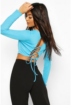 Blue Crepe Strappy Open Back Top