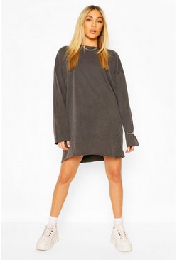 Charcoal Long Sleeve Washed T-Shirt Dress