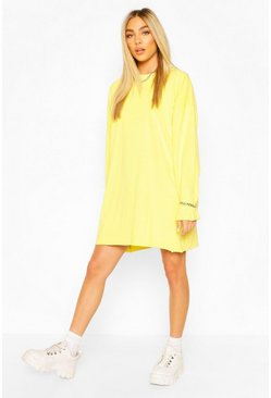 Lime Long Sleeve Washed T-Shirt Dress