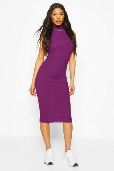 Purple Neon Rib High Neck Midi Dress