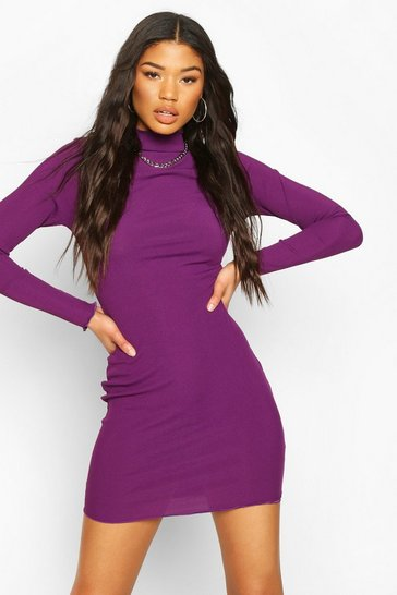 Purple Long Sleeve Neon Mini Dress