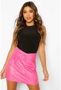 Pink Belted Leather Look Mini Skirt