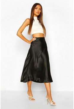 Black Satin Longline Slip Skirt