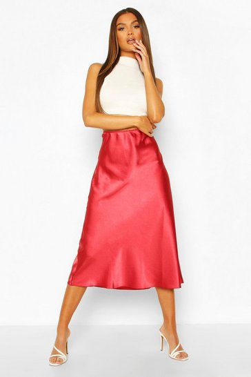 Rose Satin Longline Slip Skirt