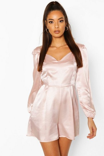 Oyster Satin Tie Shoulder Volume Sleeve Playsuit