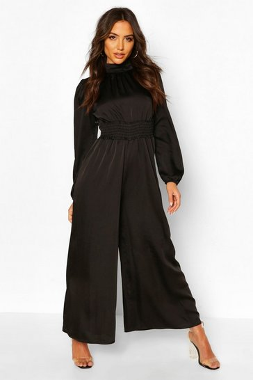Black High Neck Satin Shirred Waist Wide Leg Jumpsuit
