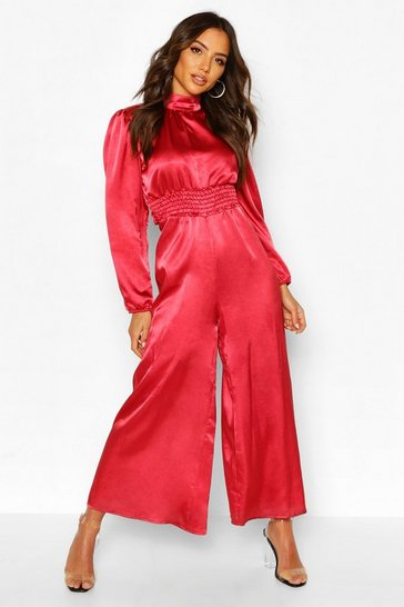 Rose High Neck Satin Shirred Waist Wide Leg Jumpsuit