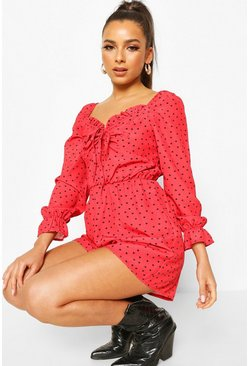 Red Heart Polka Dot Sweetheart Neck Playsuit