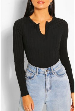 Black Recycled Rib Notch Long Sleeve Bodysuit