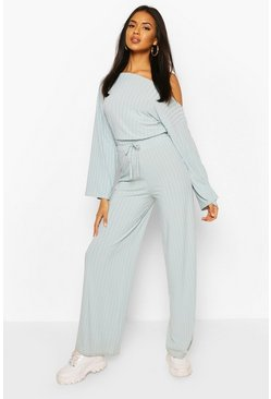 Duck egg Recycled Sweat One Shoulder Jumpsuit