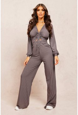 Steel Recycled Rib Wide Leg Trouser