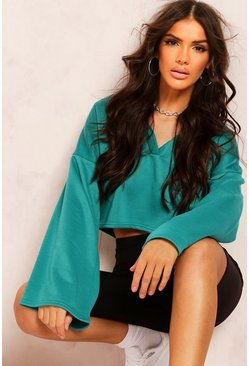 Teal Recycled Sweat Notch Crop Top