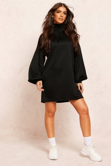 Black Recycled Sweat Oversized Hoodie Dress