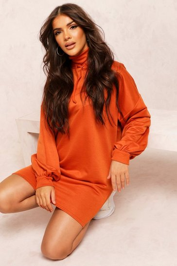 Copper Recycled Sweat Oversized Hoodie Dress
