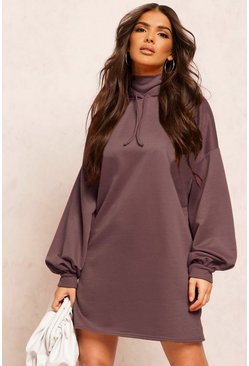 Steel Recycled Sweat Oversized Hoodie Dress