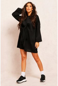 Black Recycled Sweat Tie Waist Dress