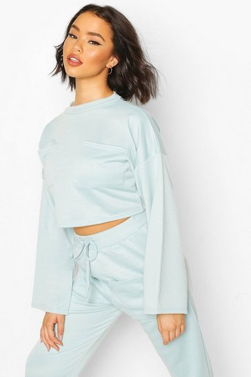 Duck egg Recycled Sweat Utility Crop Top