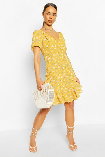 Mustard Short Puff Sleeve Ruffle Asymetric Aline Mini