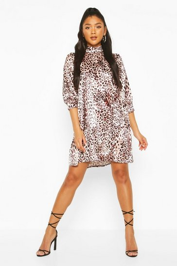 Brown Leopard Print High Neck Satin Smock Dress
