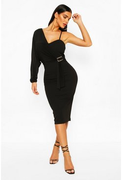 Black Drape Sleeve Buckle Midi Dress