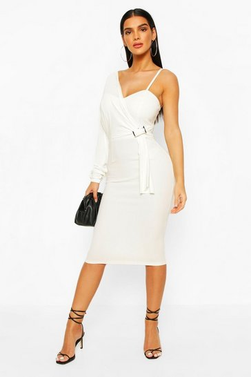 Ivory Drape Sleeve Buckle Midi Dress