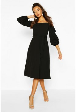 Black Off The Shoulder Puff Sleeve Midi Skater Dress