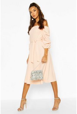 Blush Off The Shoulder Puff Sleeve Midi Skater Dress