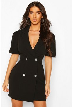 Black Puff Sleeve Diamonte Button Blazer Dress