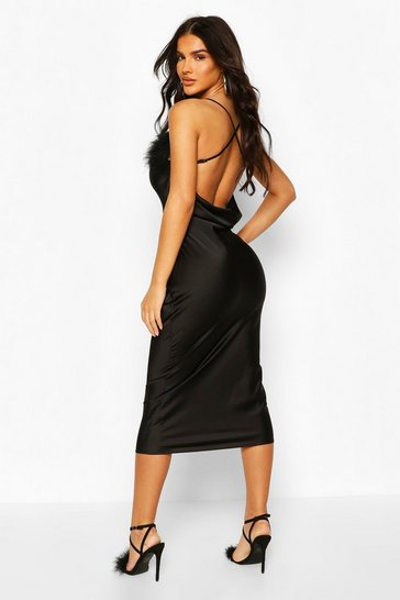 Black Feather Trim Bias Cut Slip Dress