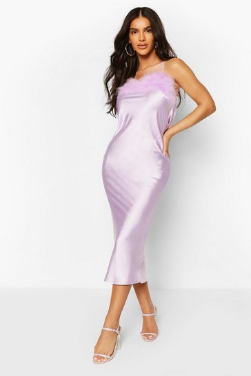 Lilac Feather Trim Bias Cut Slip Dress