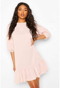 Blush Puff Sleeve Frill Hem Smock Sweat Dress