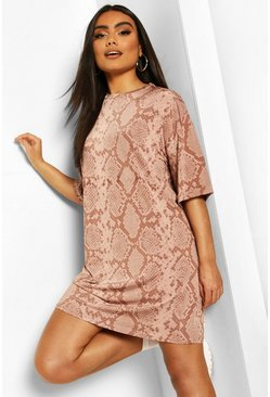 Snake Print Tonal Slinky T-Shirt Dress , Rose