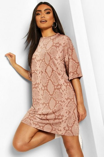 Rose Snake Print Tonal Slinky T-Shirt Dress