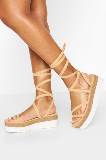 Nude Strappy Cork Flatforms