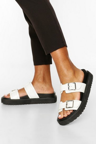 White Double Strap Chunky Footbed Sliders