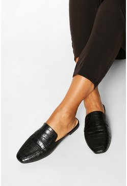 Black Croc Mule Loafers