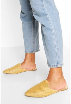 Natural Raffia Pointed Toe Mules