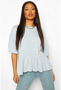 Light blue Peplum Puff Sleeve Top