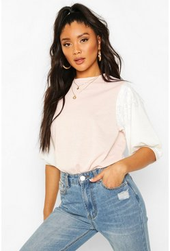 Light pink Lace Contrast Sleeve T-Shirt